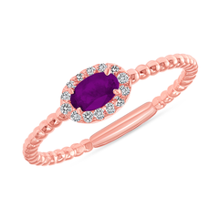 Diamond and Genuine Amethyst Gemstone Birthstone Ring in Rose Gold