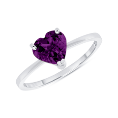 Heart Shape Solitaire Genuine Amethyst Gemstone Birthstone Ring in Sterling Silver