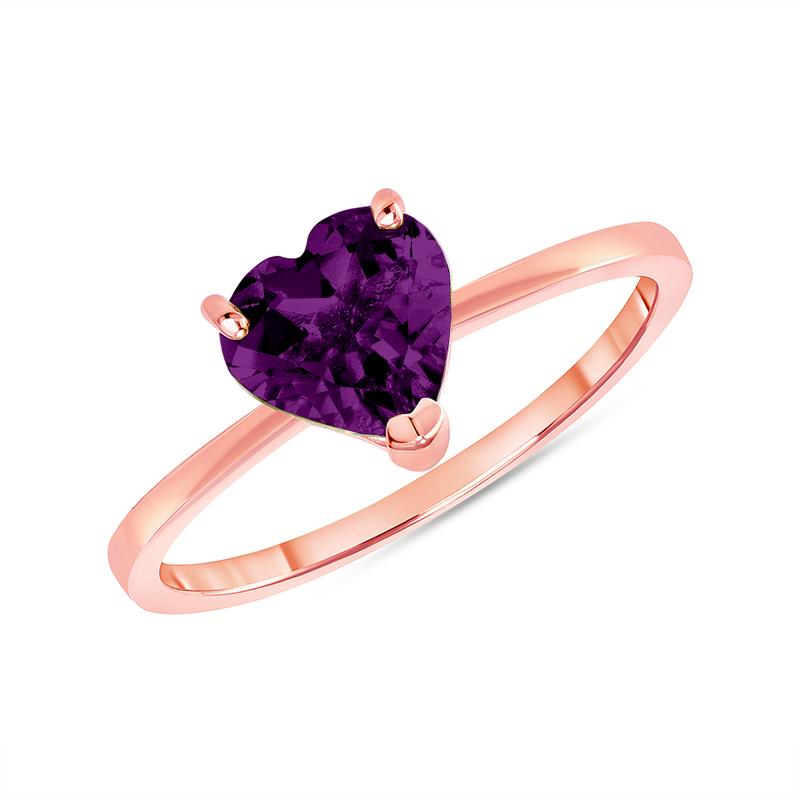 Heart Shape Solitaire Genuine Amethyst Gemstone Birthstone Ring in Rose Gold
