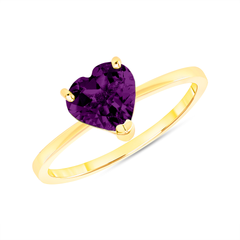 Heart Shape Solitaire Genuine Amethyst Gemstone Birthstone Ring in Yellow Gold