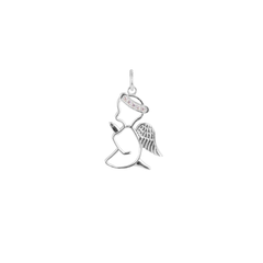 Diamond Praying Angel Outline Pendant/Necklace in Sterling Silver