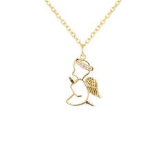 Diamond Praying Angel Outline Pendant/Necklace in Solid Gold