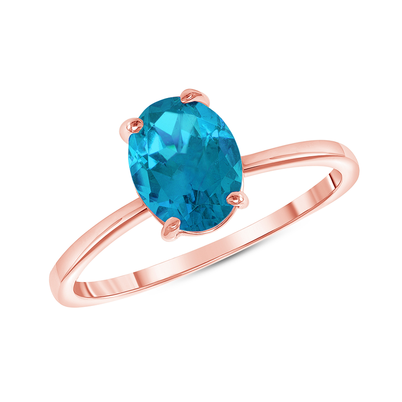 Oval Solitaire Genuine Aquamarine Gemstone Birthstone Ring in Rose Gold
