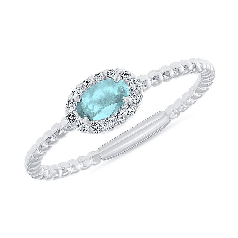 Diamond and Genuine Aquamarine Gemstone Birthstone Ring in White Gold