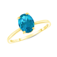 Oval Solitaire Genuine Aquamarine Gemstone Birthstone Ring in Yellow Gold