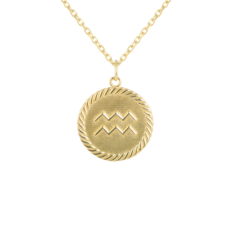 Reversible Aquarius Zodiac Sign Charm Coin Pendant Necklace in Solid Gold