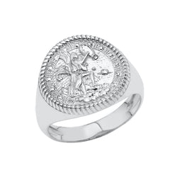 Aquarius Astrological Zodiac Unisex Statement Ring In Sterling Silver
