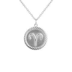 Reversible Aries Zodiac Sign Charm Coin Pendant Necklace in Solid Gold