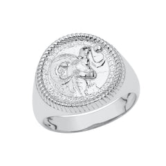 Aries Astrological Zodiac Unisex Statement Ring In Sterling Silver