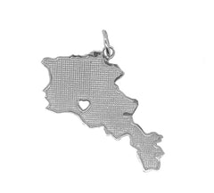 Armenia Map with Heart in Sterling Silver