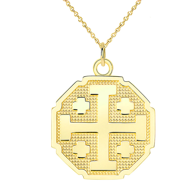 Jerusalem Cross Pendant Necklace In Solid Gold