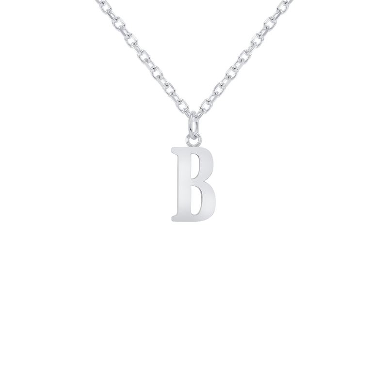 "Customizable Initial ""B"" Pendant Necklace in Sterling Silver"