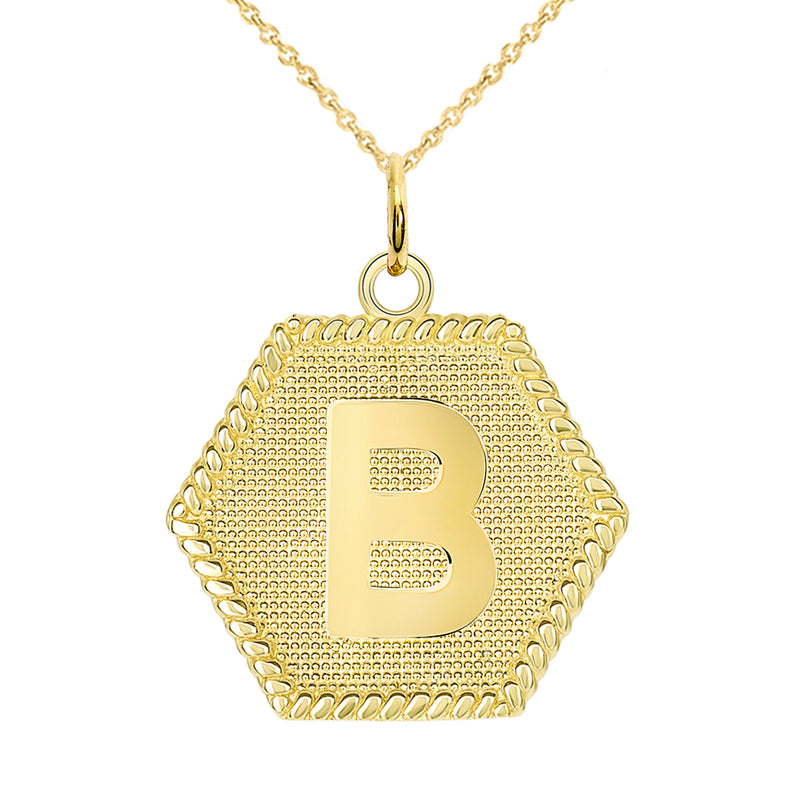 "Initial ""B"" Gold Medallion Pendant Necklace"
