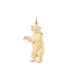 Solid Gold Roaring Grizzly Bear Pendant Necklace