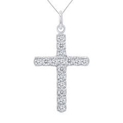 Cubic Zirconia Cross Pendant/Necklace In Solid Gold
