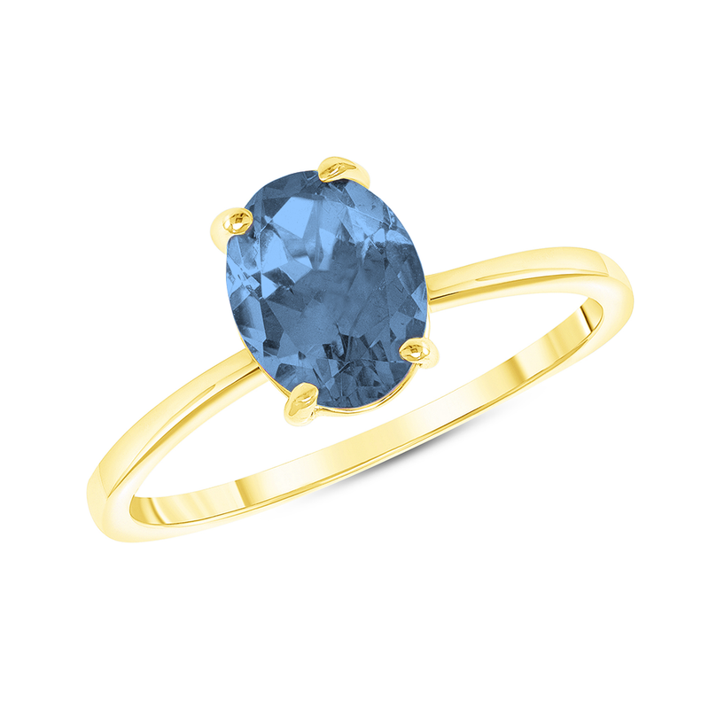 Oval Solitaire Genuine Blue Topaz Gemstone Birthstone Ring in Yellow Gold