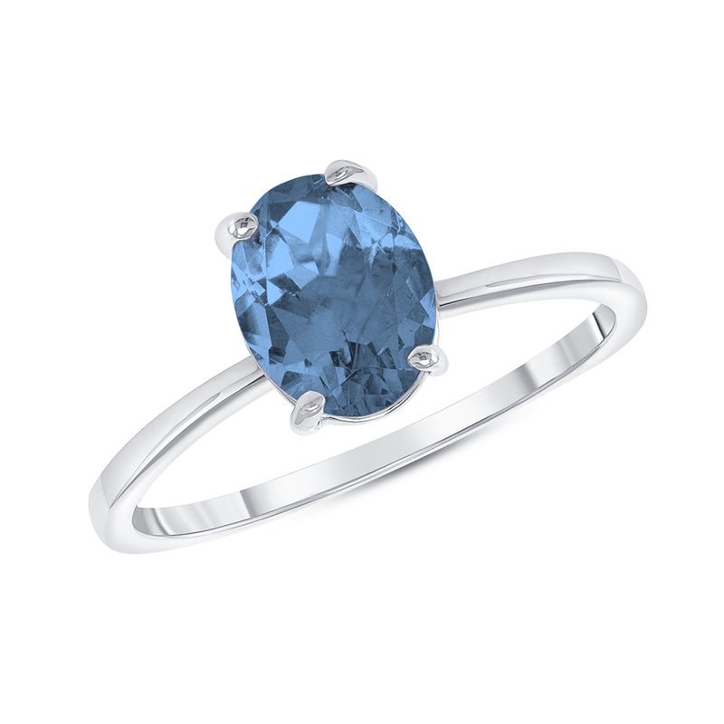 Oval Solitaire Genuine Blue Topaz Gemstone Birthstone Ring in Sterling Silver