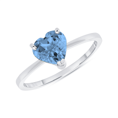 Heart Shape Solitaire Genuine Blue Topaz Gemstone Birthstone Ring in Sterling Silver