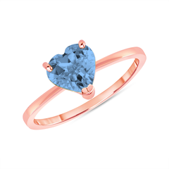 Heart Shape Solitaire Genuine Blue Topaz Gemstone Birthstone Ring in Rose Gold