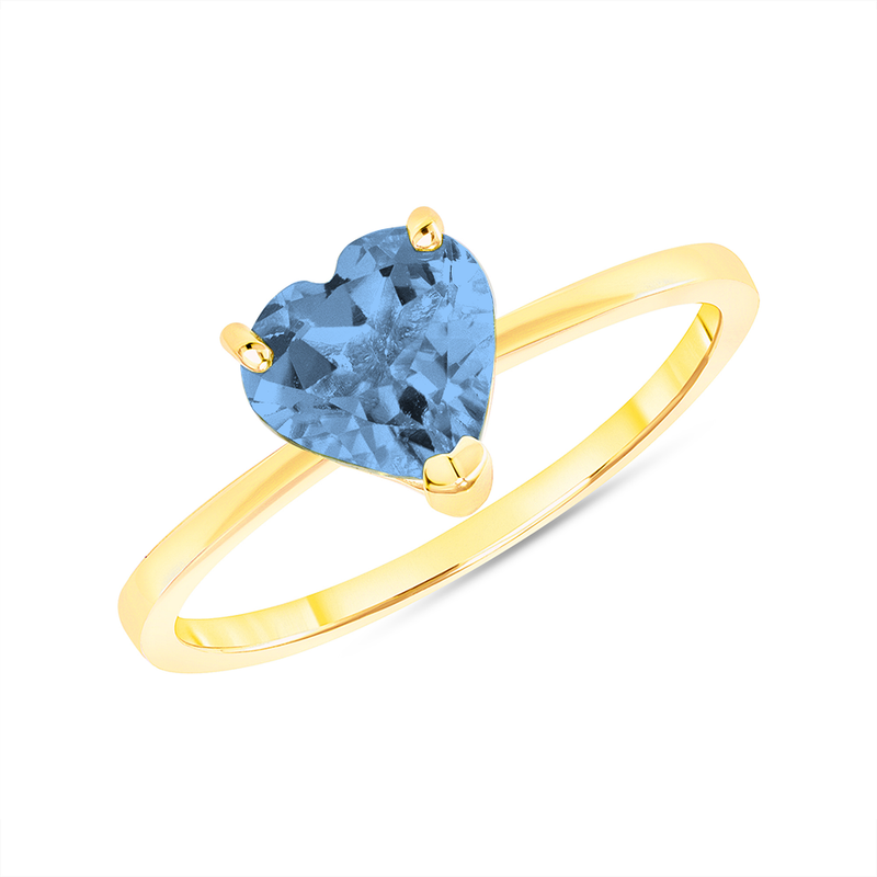 Heart Shape Solitaire Genuine Blue Topaz Gemstone Birthstone Ring in Yellow Gold