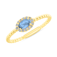 Diamond and Genuine Blue Topaz Gemstone Birthstone Ring in Yellow Gold