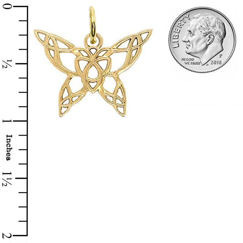Gold Butterfly with Trinity-Style Design Pendant Necklace