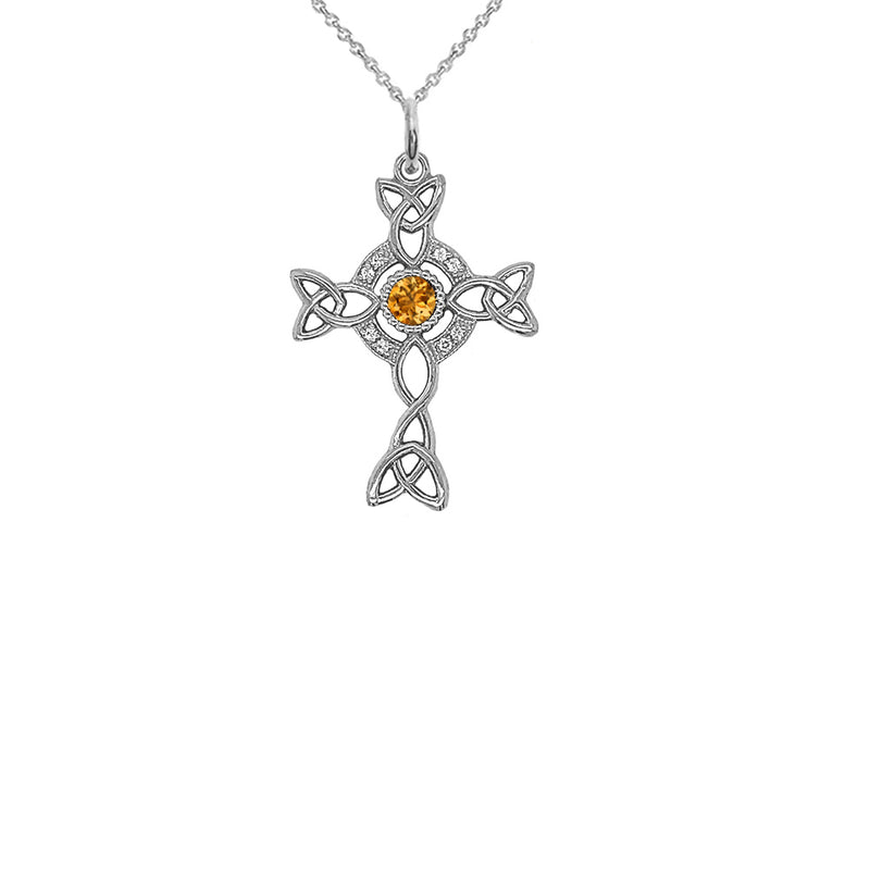 Diamond Irish Celtic Cross with Genuine Citrine Pendant Necklace in Sterling Silver