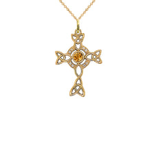 Diamond Irish Celtic Cross with Genuine Citrine Pendant Necklace in Gold