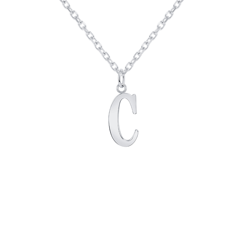 "Customizable Initial ""C"" Pendant Necklace in Sterling Silver"