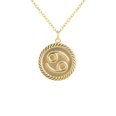Reversible Cancer Zodiac Sign Charm Coin Pendant Necklace in Solid Gold