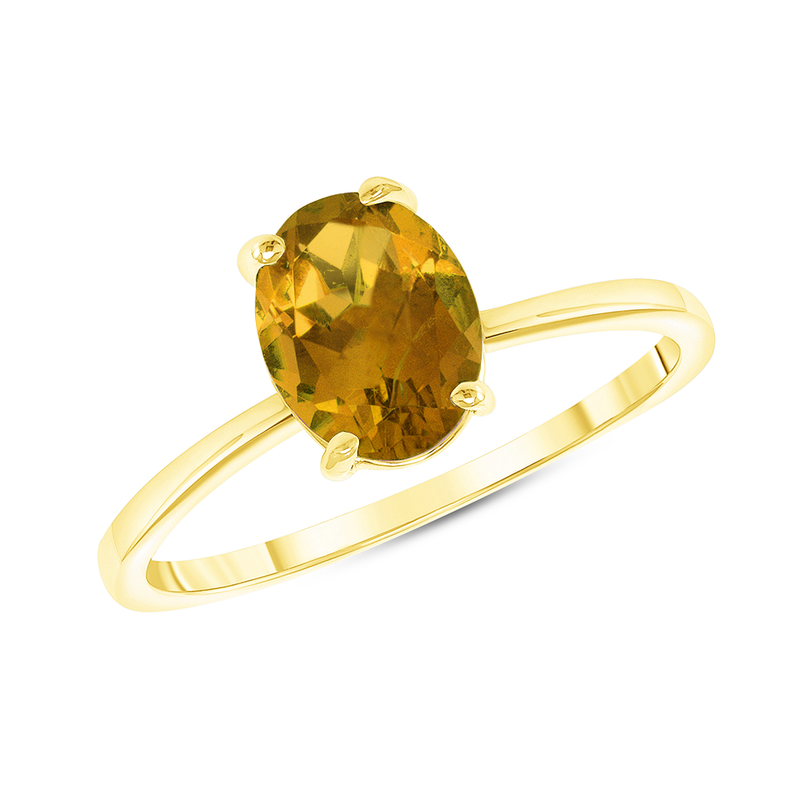 Oval Solitaire Genuine Citrine Gemstone Birthstone Ring in Yellow Gold