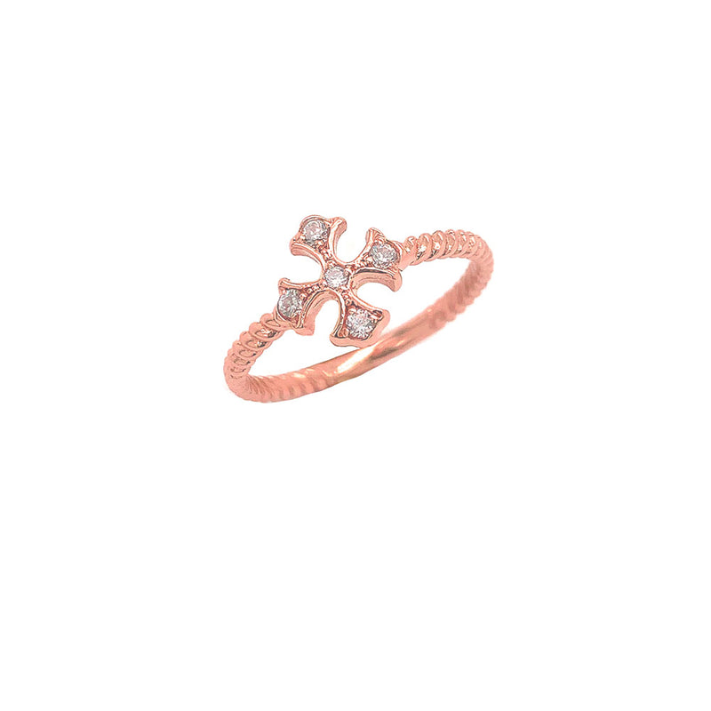 Heraldic Cross Diamond Rope Ring in Rose Gold