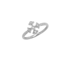 Heraldic Cross Diamond Rope Ring in Sterling Silver