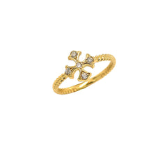 Heraldic Cross CZ Rope Ring in Yellow Gold