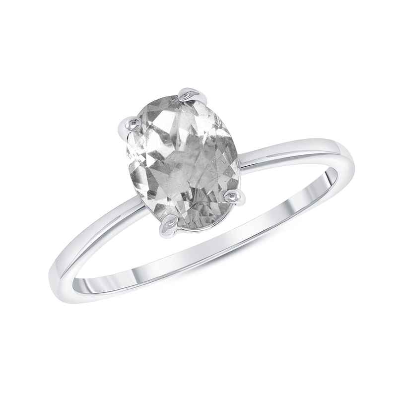 Oval Solitaire Lab Created Cubic Zirconia Gemstone Birthstone Ring in Sterling Silver