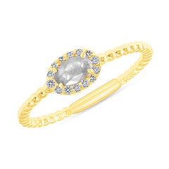 Diamond and Cubic Zirconia Gemstone Birthstone Ring in Yellow Gold
