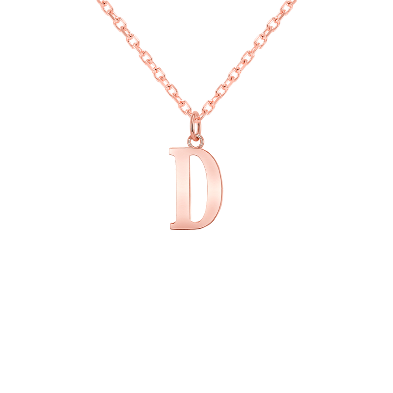 "Customizable Initial ""D"" Pendant Necklace in Solid Gold"