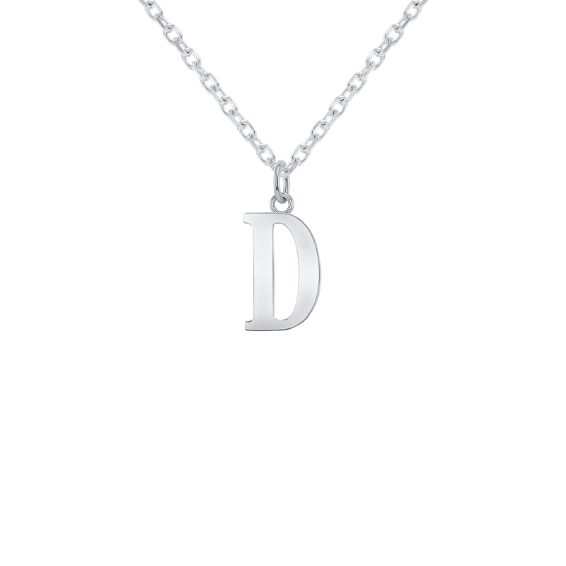 "Customizable Initial ""D"" Pendant Necklace in Sterling Silver"