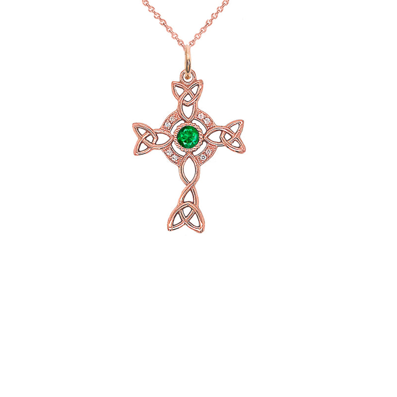 Diamond Irish Celtic Cross with May Birthstone Pendant Necklace in Gold