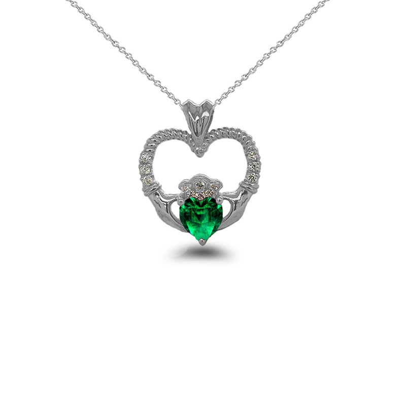 Claddagh Heart Diamond & May Birthstone Green CZ Rope Pendant/Necklace in Solid Gold
