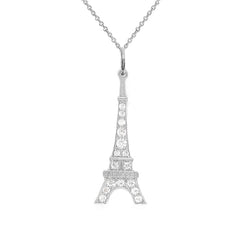 Eiffel Tower with CZ Pendant Necklace in Gold