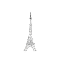 Eiffel Tower with CZ Pendant Necklace in Sterling Silver