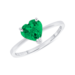 Heart Shape Solitaire Lab Created Emerald Green Gemstone Birthstone Ring in White Gold
