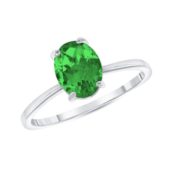 Oval Solitaire Lab Created Emerald Green Gemstone Birthstone Ring in Sterling Silver