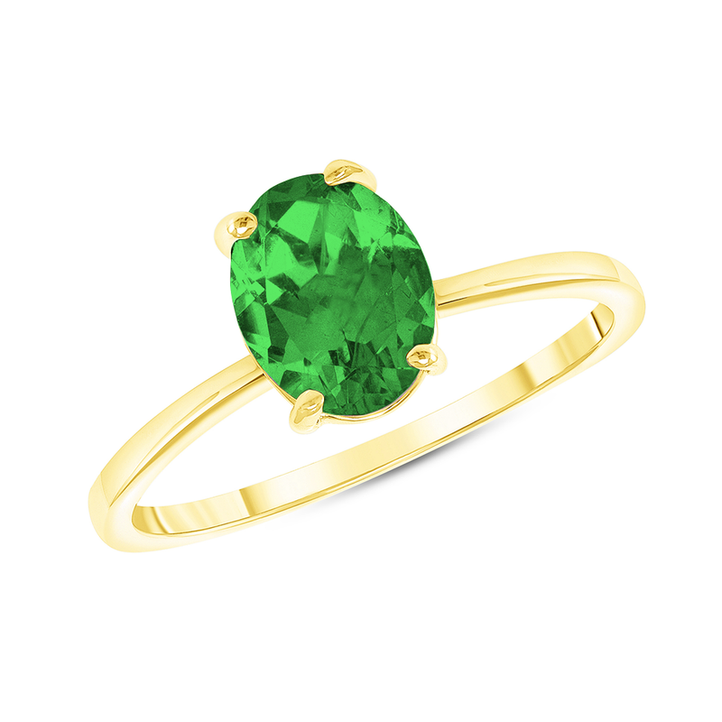 Oval Solitaire Lab Created Emerald Green Gemstone Birthstone Ring in Yellow Gold