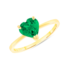 Heart Shape Solitaire Lab Created Emerald Green Gemstone Birthstone Ring in Yellow Gold
