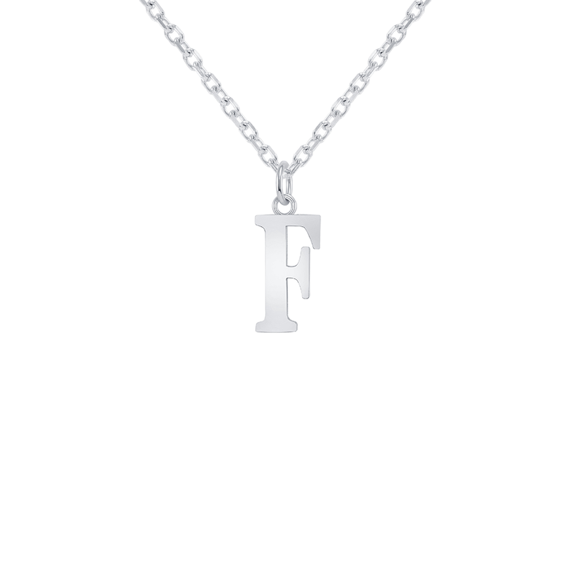 "Customizable Initial ""F"" Pendant Necklace in Sterling Silver"