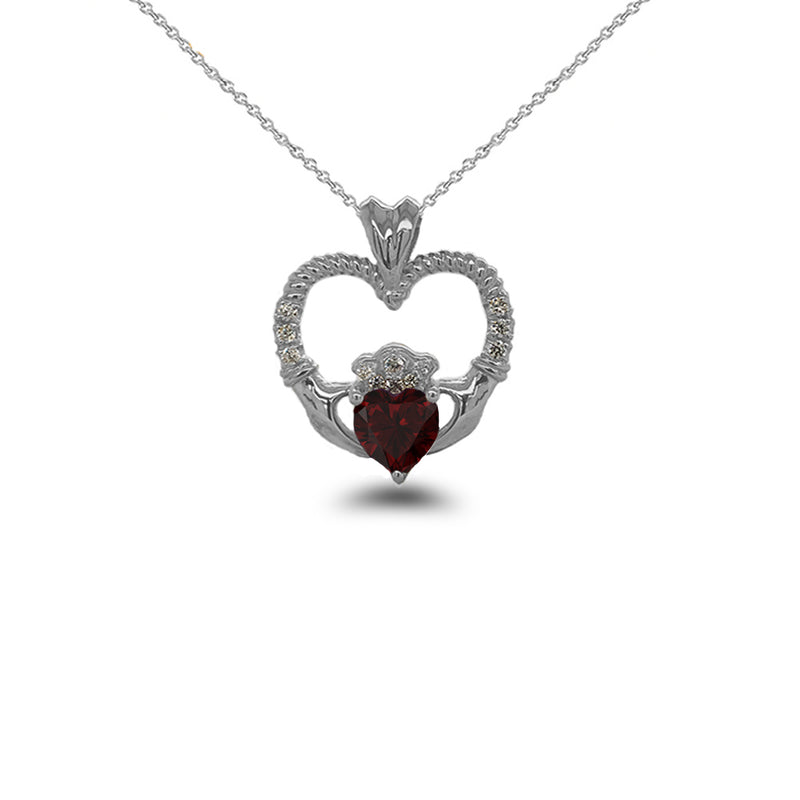 Claddagh Heart Diamond & Genuine Garnet Rope Pendant/Necklace in Sterling Silver