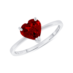 Heart Shape Solitaire Genuine Garnet Gemstone Birthstone Ring in White Gold