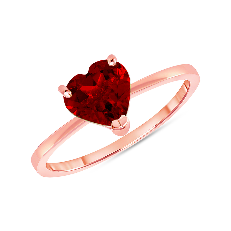 Heart Shape Solitaire Genuine Garnet Gemstone Birthstone Ring in Rose Gold